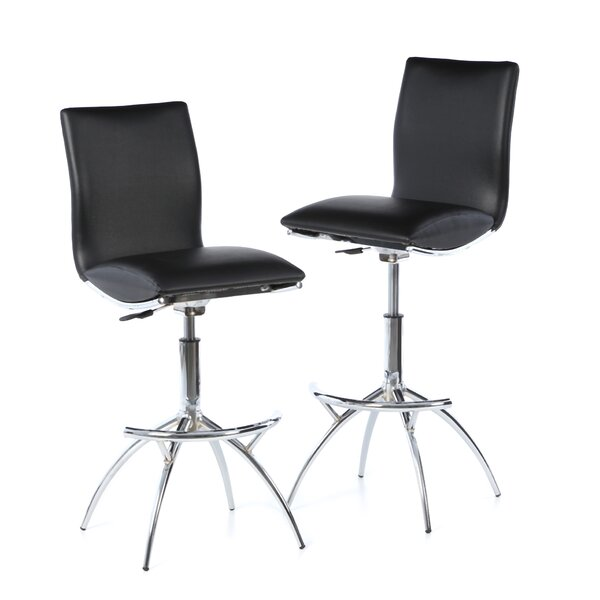 Shen Adjustable Height Swivel Bar Stool (Set of 2) by Wade Logan