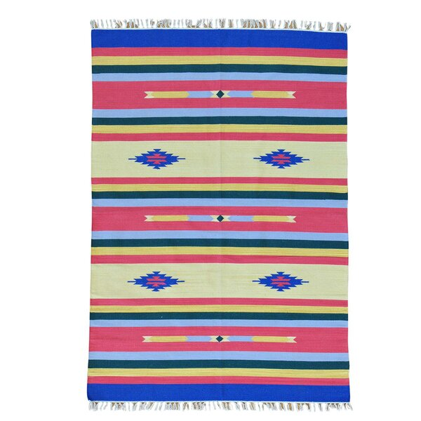 One-of-a-Kind Totten Flat Weave Killim Hand-Knotted Cotton Red/Yellow Area Rug by Millwood Pines