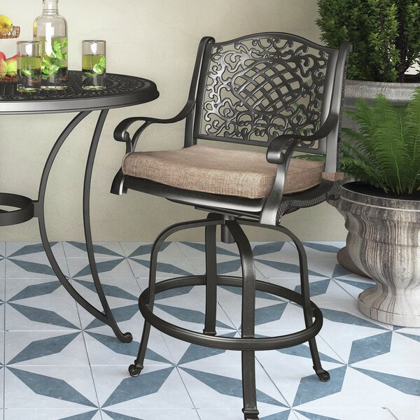 Cearley Patio Bar Stool with Cushion by Fleur De Lis Living
