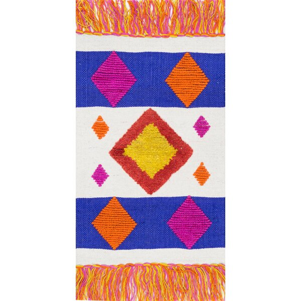 Duong Hand-Woven Blue/Orange Area Rug by Bloomsbury Market