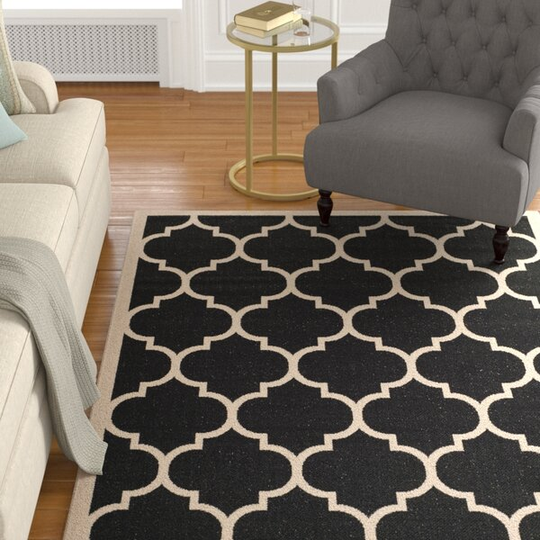 Larson Black/Beige Indoor/Outdoor Indoor Area Rug by Sol 72 Outdoor