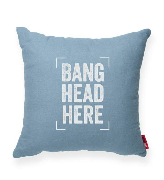 Pettis Bang Head Here Throw Pillow by Wrought Studio