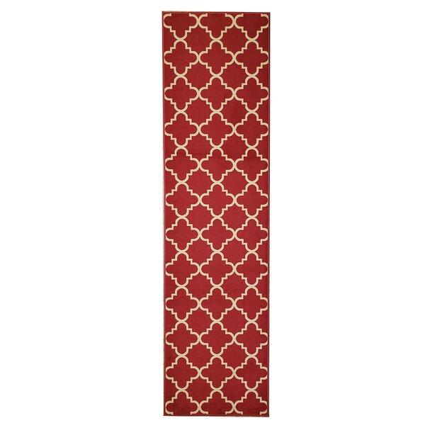 Beauchamp Square Red/Ivory Area Rug by Andover Mills