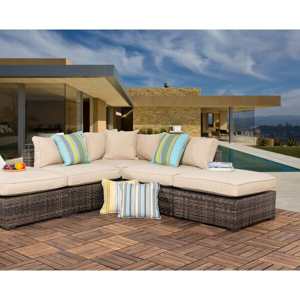 Haskins Outdoor 5 Piece Wicker Sectional Seating Group with Cushions by Bayou Breeze