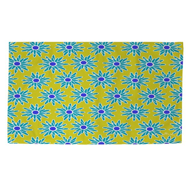 La Roque Summer Starburst Yellow/Blue Area Rug by Manual Woodworkers & Weavers