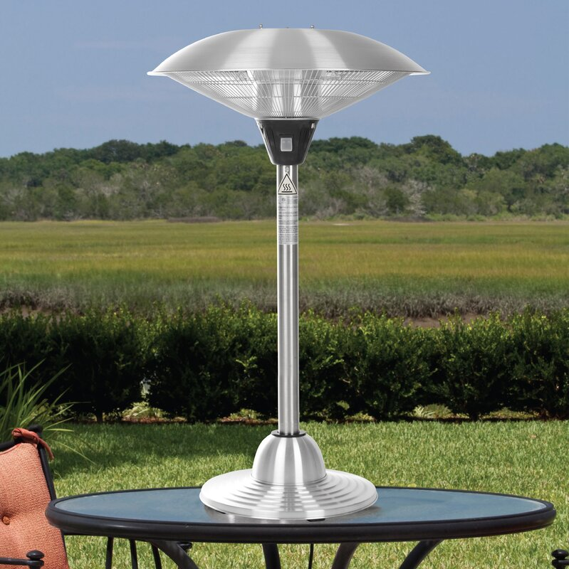 table heater. stainless steel 1500 watt electric tabletop patio heater table