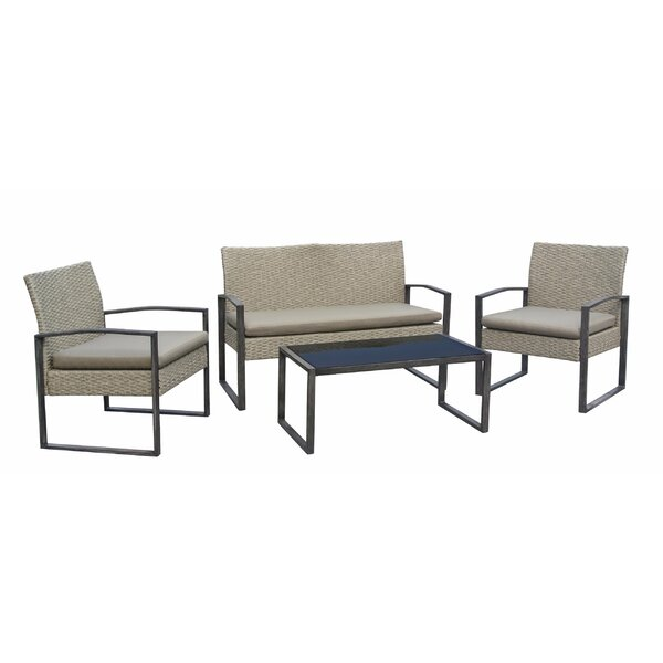 Tony 4 Piece Sofa Seating Group with Cushions by Bayou Breeze Bayou Breeze