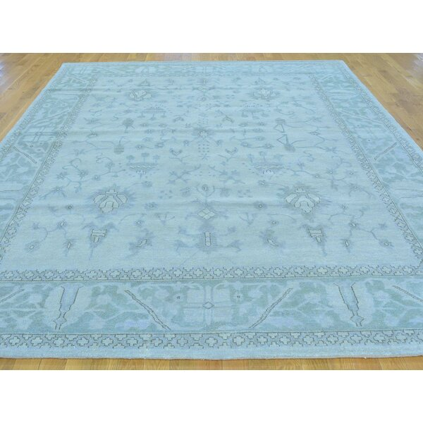 One-of-a-Kind Bearer Stone Wash Hand-Knotted Blue Wool Area Rug by Isabelline