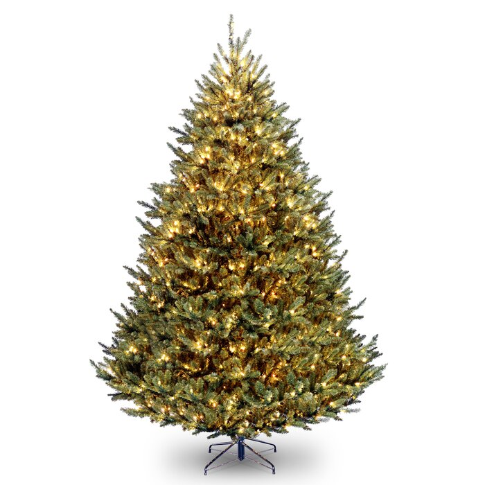 Natural Christmas Tree.Natural Fraser 9 Green Spruce Artificial Christmas Tree With 1200 Clear White Lights