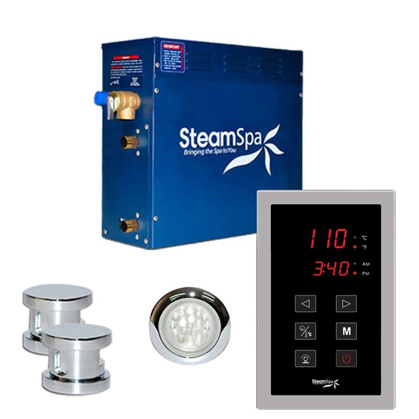 SteamSpa Indulgence 12 KW QuickStart Steam Bath Generator Package in Polished Chrome by Steam Spa