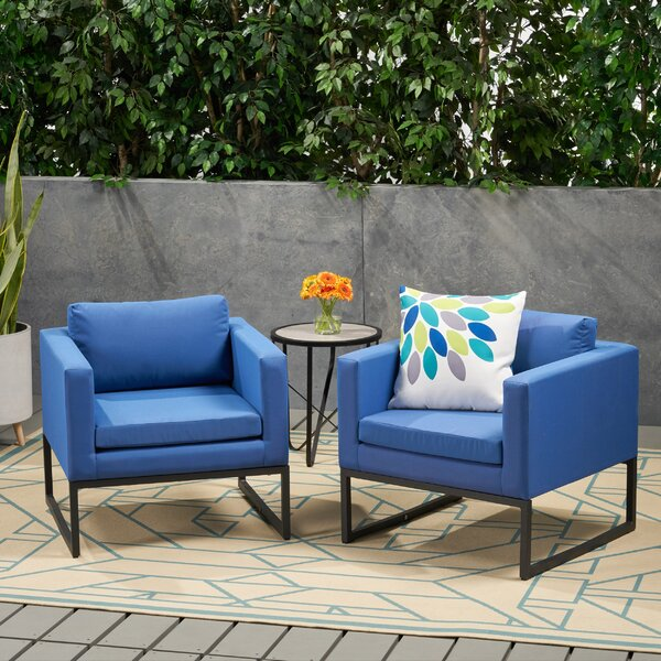 Bhandary Patio Chair with Cushions (Set of 2) by Latitude Run