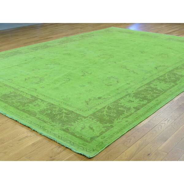 One-of-a-Kind Beaumont Overdyed Lime Handwoven Green Wool Area Rug by Isabelline