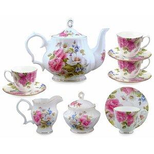 11 Piece Bone China  Grace's Rose Tea Set