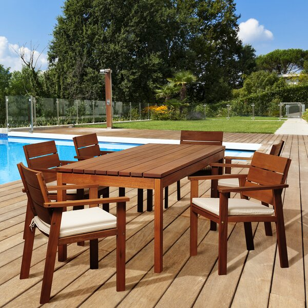 Turbeville International Home Outdoor 7 Piece Dining Set with Cushions by Highland Dunes
