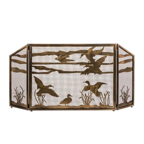 Ducks In Flight 3 Panel Steel Fireplace Screen By Meyda Tiffany