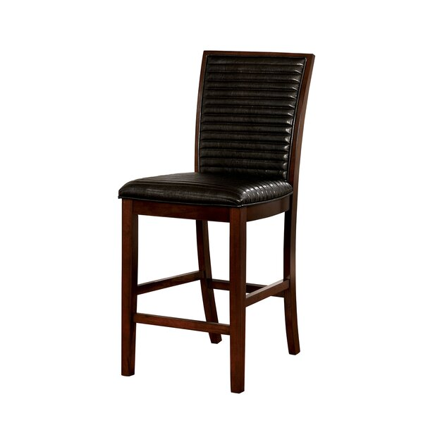 Marcel Counter Height Genuine Leather Upholstered Dining Chair (Set of 2) by Alcott Hill