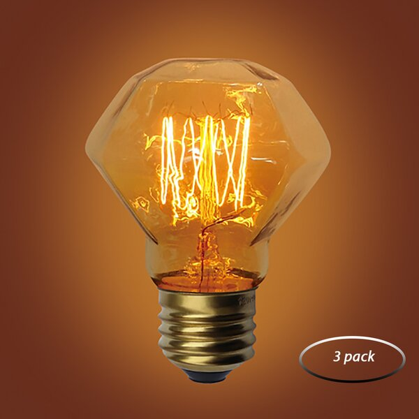 60W E26 Dimmable Incandescent Edison Light Bulb Amber (Set of 3) by Urbanest