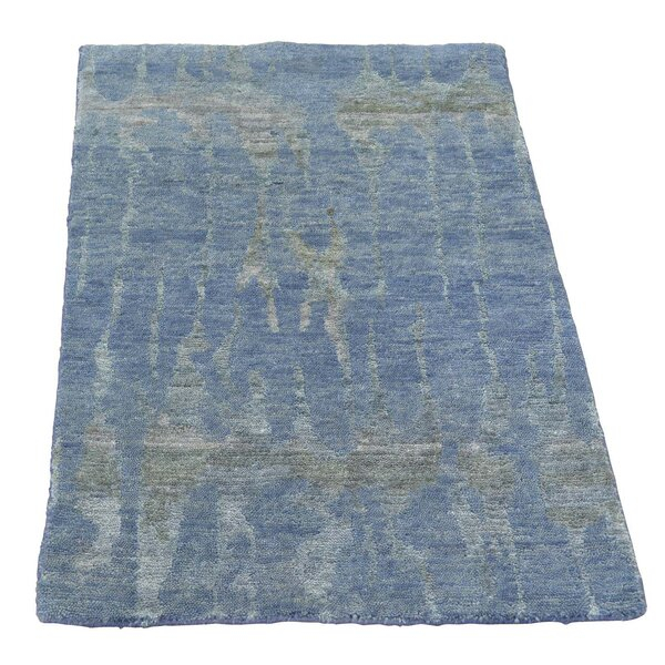 One-of-a-Kind Helmuth Hand-Knotted Blue Area Rug by Williston Forge