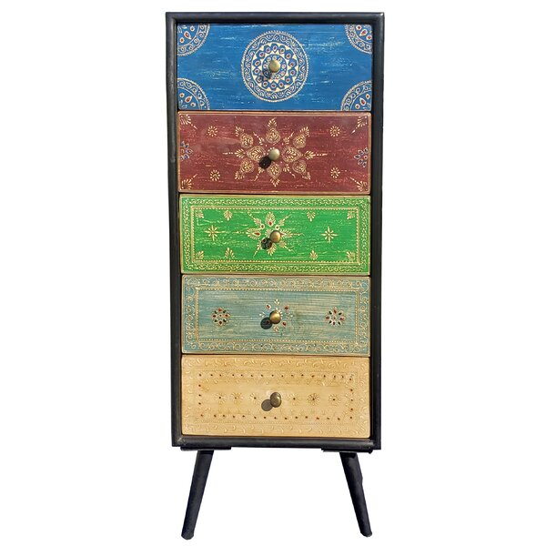 Andesine Mango Wood 5 Drawer Accent Chest by World Menagerie World Menagerie