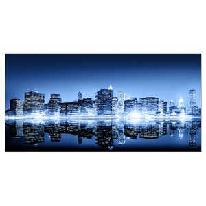 Night New York City Mirrored Photographic Print on Wrapped Canvas by Design Art