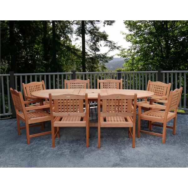 Mcquiston International Home Outdoor 9 Piece Dining Set by Highland Dunes