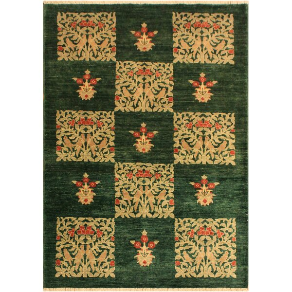 One-of-a-Kind Jocelyn Peshawar Hand-Knotted Wool Green/Tan Area Rug by Astoria Grand