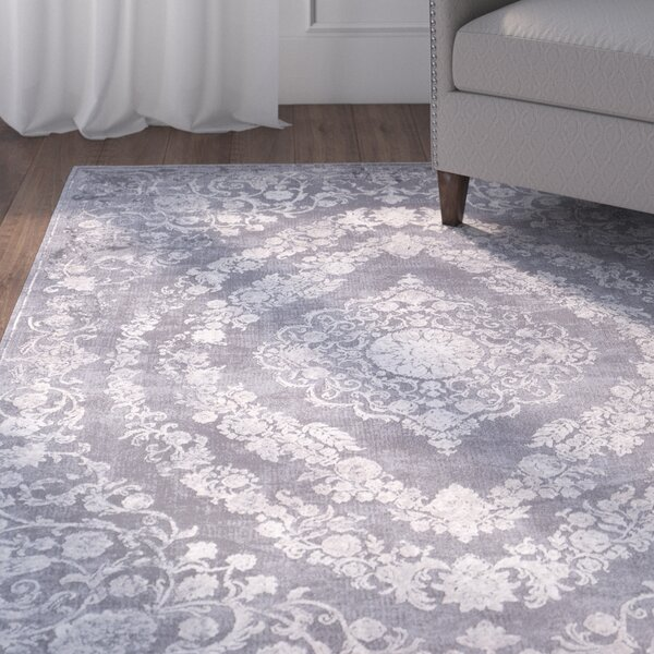 Thissell Vintage Persian Medallion Gray/Ivory Area Rug by Charlton Home
