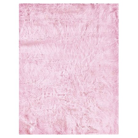 Samantha Faux Sheepskin Pink Area Rug by Threadbind