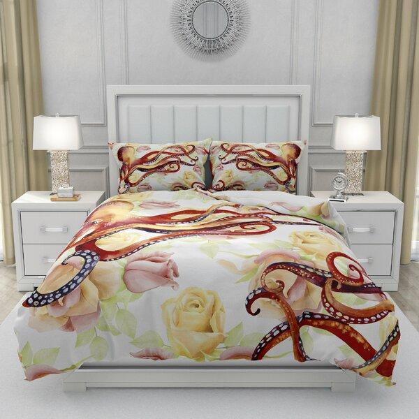 Durkee Floral Octopus Duvet Cover Set
