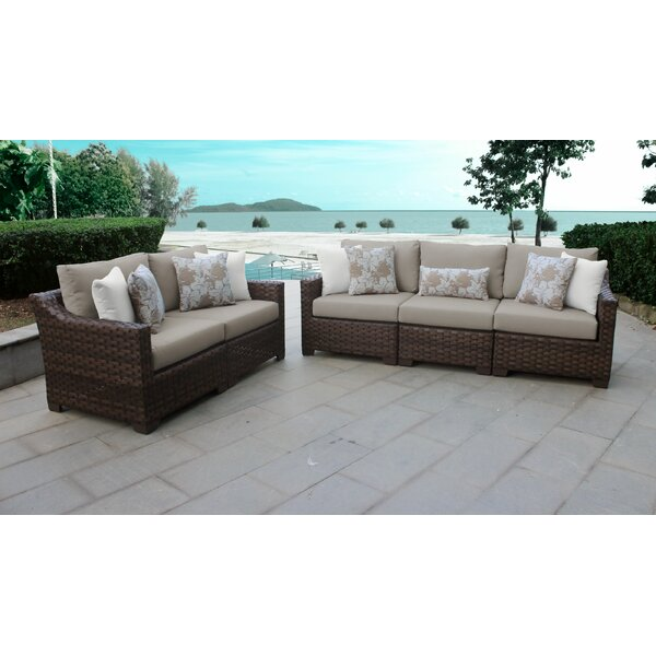 River Brook 5 Piece Outdoor Wicker Patio Furniture Set 05a by kathy ireland Homes & Gardens by TK Classics