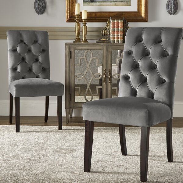 Pompon Rolled Top Tufted Upholstered Dining Chair (Set of 2) by Lark Manor