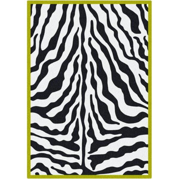Zebra Glam Citrus Black/White Area Rug by Milliken