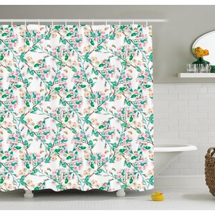 Reviews Flower Cherry Blossoms Pattern with Bumble Bees Japanese Spring Themed Chic Print Shower Curtain Set By Ambesonne