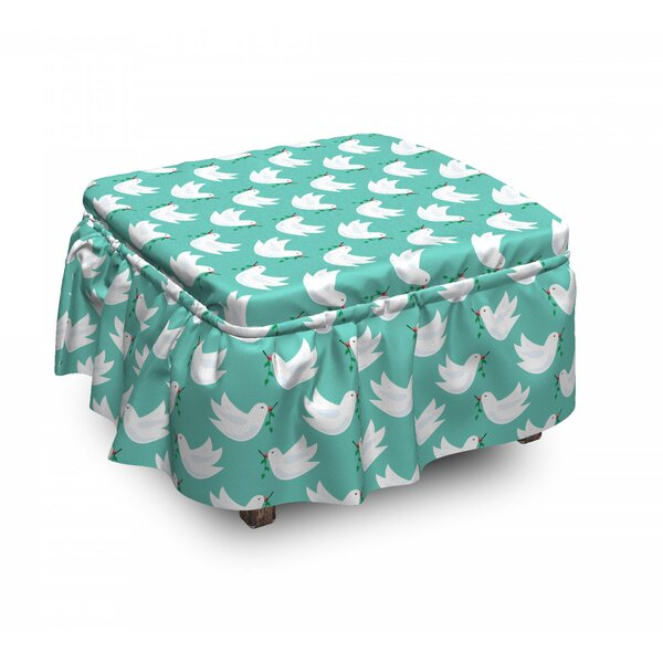 Doodle Dove With Branch Ottoman Slipcover (Set Of 2) By East Urban Home