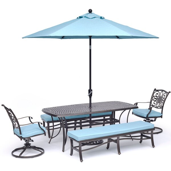 Behnke 5 Piece Dining Set with Umbrella by Darby Home Co