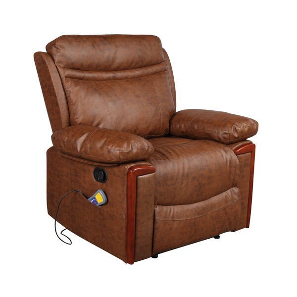 Amyanne Faux Leather Power Recliner with Massage W003502814