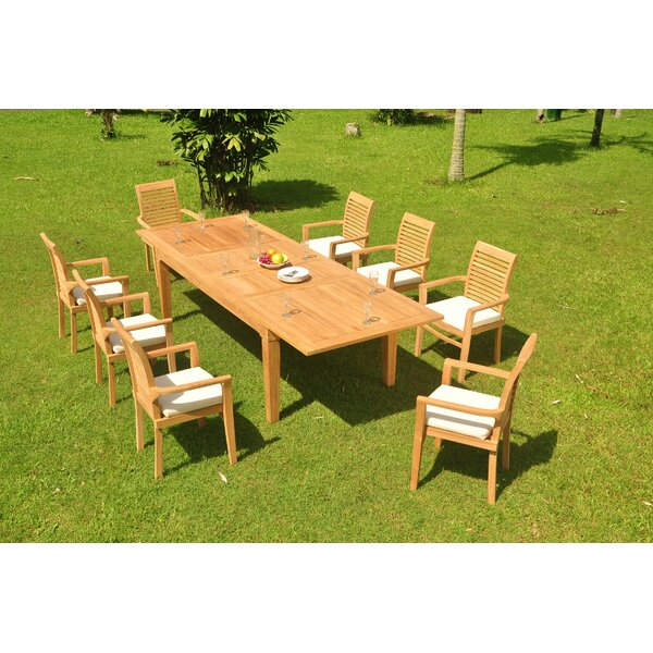 Alexzander 9 Piece Teak Dining Set by Rosecliff Heights