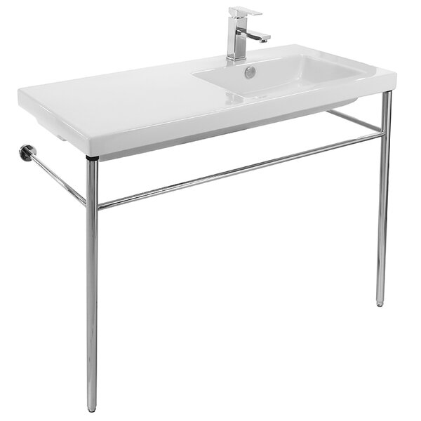 Condal Ceramic 40 Console Bathroom Sink with Overflow by Ceramica Tecla by Nameeks