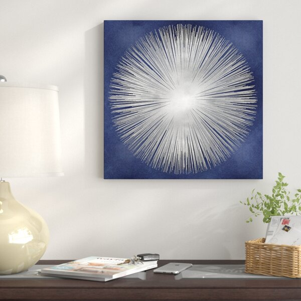 Silver Sunburst on Blue I Graphic Art on Wrapped Canvas by East Urban Home
