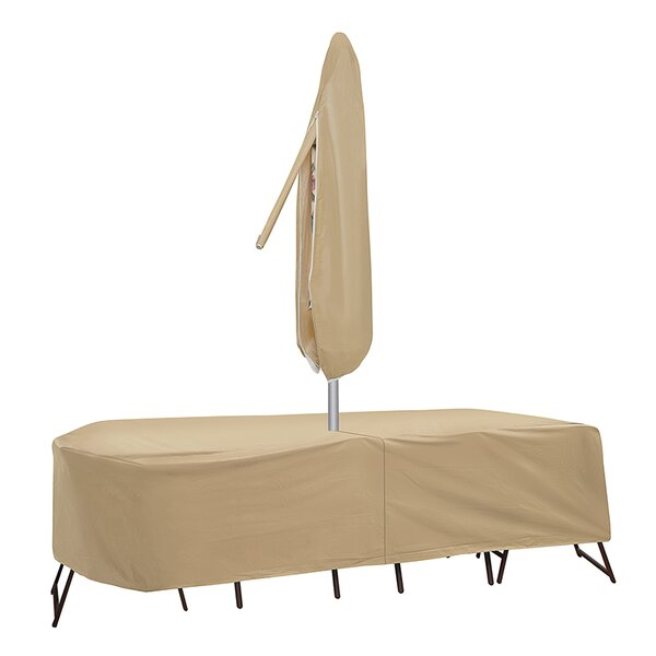 Oval Table and High Back Chair Cover with Umbrella Hole by Freeport Park