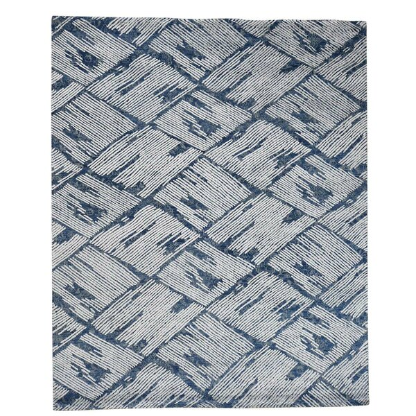 Hi and Low Oriental Hand-Knotted Silk Blue Area Rug by Ivy Bronx