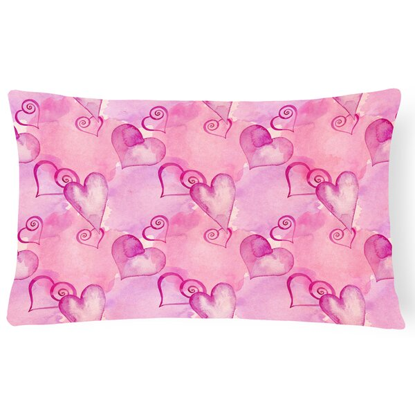 Obadiah Watercolor Hot Hearts Indoor/Outdoor Throw Pillow by Zoomie Kids