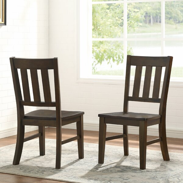 Losoya Solid Wood Slat Back Side Chair in Brown (Set of 2) by Gracie Oaks Gracie Oaks