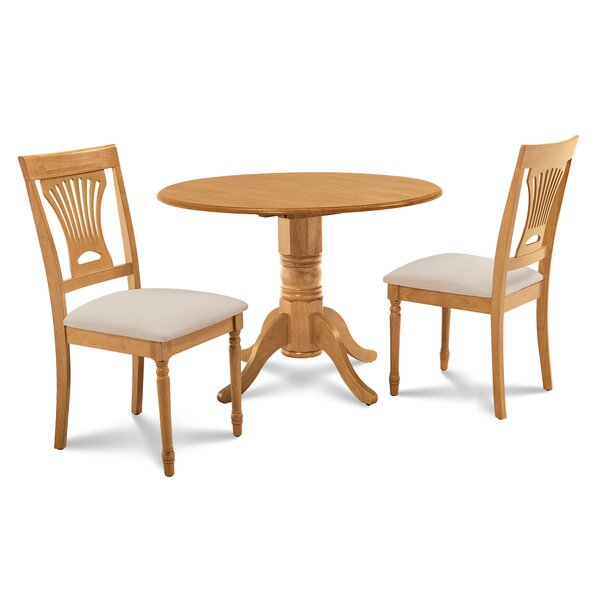 Chesterton 3 Piece Oak Solid Wood Dining Set by Alcott Hill