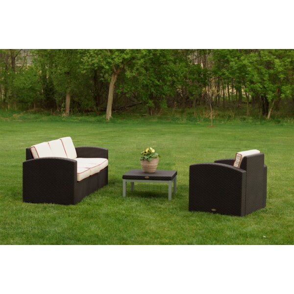 Mira 3 Piece Sunbrella Sofa Set with Cushions by World Menagerie