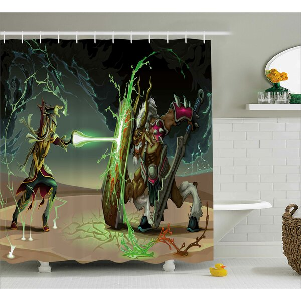 Anime Animal Comics Superheros With Dangerous Wild Powers Goat With Rays Lights Print Shower Curtain by Ambesonne