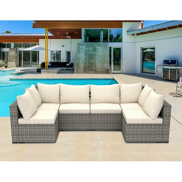 Midtown 6 Piece Rattan Sectional Seating Group with Cushions by Latitude Run