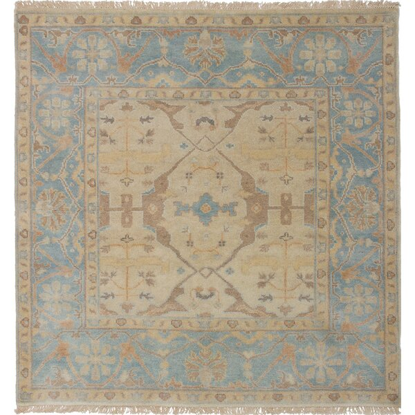 One-of-a-Kind Doggett Hand Knotted Square Wool Light Khaki Area Rug by Isabelline