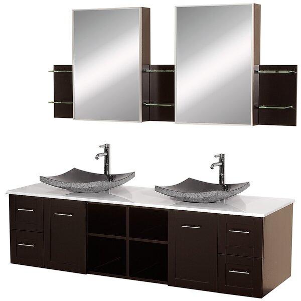 Avara 72 Wall-Mounted Double Bathroom Vanity Set with Mirror