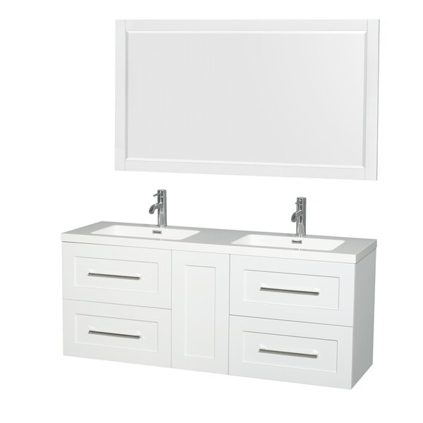 Olivia 60 Double Satin White Bathroom Vanity Set with Mirror by Wyndham Collection